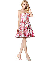 Cocktail Party Prom Dress Princess Sweetheart Short/Mini Satin Chiffon with Pattern / Print