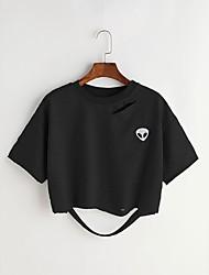 Tee-shirt Femme,Couleur Pleine Formes GéométriquesQuotidien Décontracté Sport de détente Vacances Plein Air Sortie Décontracté /