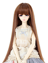 Synthetic Doll Accessories Long Straight Light Brown color Hair Neat Straight Bang for 1/3 1/4 Bjd SD DZ MSD Doll Costume Wigs Not for Human Adult