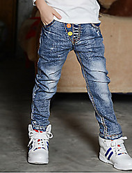 Boys' Stylish And Cool Comfortable Cotton The Embroidery Pocket Loose Casual  Washing Leisure Denim Trousers