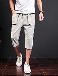 Masculino Simples Cintura Média Inelástico Chinos Calças,Solto Sólido