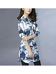 Women's Office/Career Daily Casual Vintage Simple Spring Summer Shirt,Floral Print Printing Hooded Long SleeveCotton Linen Polyester