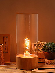 American Simple Retro Creative Glass Solid Wood Lamp