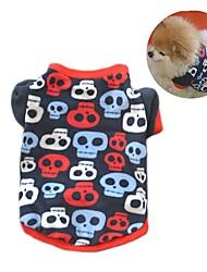 Кошка Собака Плащи Футболка Толстовка Одежда для собак Для вечеринки На каждый день Сохраняет тепло Черепа Черный Камуфляж цвета