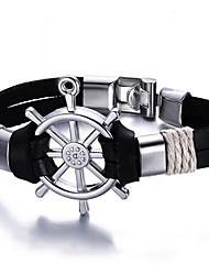 Men's Leather Bracelet Friendship Gothic Movie Jewelry Luxury Costume Jewelry Fashion Vintage Bohemian Punk Hip-Hop Rock Stretch Turkish