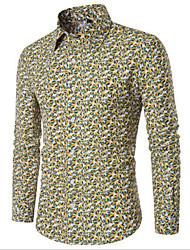 Masculino Camisa Social Casual Trabalho Simples Sólido Floral Estampado Algodão Outros Colarinho de Camisa Manga Longa
