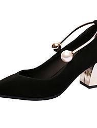 Feminino Saltos Conforto Solados com Luzes Sapatos formais Pele Real Primavera Verão Casamento Festas & Noite PérolasSalto Grosso Salto
