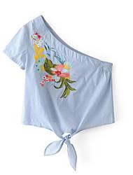 Damen Stickerei Einfach Alltag Normal T-shirt,Ein-Schulter Kurzarm Polyester