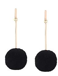 Fashion Women Trendy Fur Ball Long Earrings