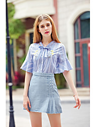 KANF Women's Going out Casual/Daily Simple Cute Spring Summer ShirtStriped Embroidery V Neck Half Sleeve Cotton Medium