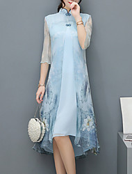 Для женщин Для вечеринок Винтаж Шинуазери (китайский стиль) Изысканный Оболочка Платье Цветочный принт,Воротник-стойкаДо колена