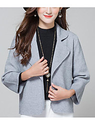 Women's Casual/Daily Cute Short Cardigan,Print Color Block Shirt Collar Long Sleeves Cashmere Cotton Spring Medium Micro-elastic