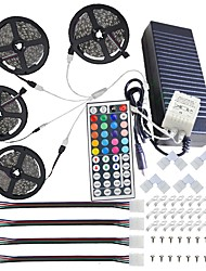 Waterproof 20M(4*5M) 5050 RGB 600 LEDs Strip Lights with 44Key IR Remote Controller Kit and 12V 10A EU/US/AU/UK Power Supp whit A set Mounting Bracket
