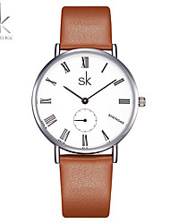 SK Women's Fashion Watch Chinese Quartz Shock Resistant PU Band Casual Brown K0052L01
