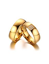 Casal Anéis de Casal Zircônia cúbica Estilo simples Elegant Zircônia Cubica Aço Titânio 18K ouro Forma Redonda Jóias ParaCasamento Festa