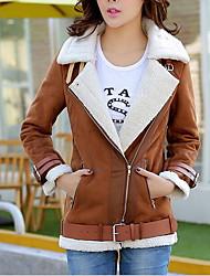 Для женщин На каждый день Зима Осень Кожаные куртки Рубашечный воротник,Новое поступление Однотонный Обычная Длинный рукав,Полиэстер