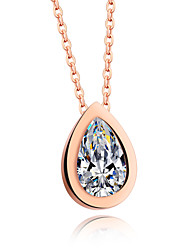 Droplets pendant necklaces zircon elegant woman rose gold Mosaic gold plated chain short chains of clavicle allergy