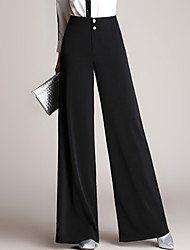 Women's High Waist Inelastic Wide Leg Business Pants Plus Size / Casual/Daily / Work Street chic Loose Wide Leg Solid