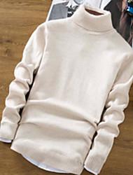Standard Pullover Da uomo-Quotidiano Casual Semplice Tinta unita Girocollo Manica lunga Cotone Maglia Primavera Autunno Medio spessore