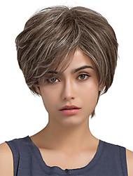 Пушистые наклонный бахрома короткие волосы ombre цвет человеческие волосы парики