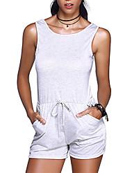 Femme simple Sexy Chic de Rue Taille Haute Sports Sortie Vacances Barboteuses,Mince Dos Nu Couleur Pleine Printemps Eté