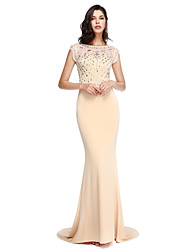 Formal Evening Dress Trumpet / Mermaid Scoop Court Train Polyester with Beading