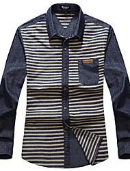 Men's Business Daily Casual Simple Fall Winter Shirt,Striped Shirt Collar Long Sleeve Cotton Medium