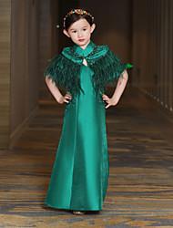 Uma linha de tornozelo vestido de menina de flor - penas de cetim mikado pescoço sem mangas com beading