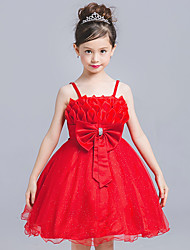 Princess Knee Length Flower Girl Dress - Tulle Sleeveless Strap with Bowknot