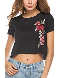 Tee-shirt Femme,Broderie Plein Air Chic de Rue Eté Manches Courtes Col Arrondi Tricot roman Moyen