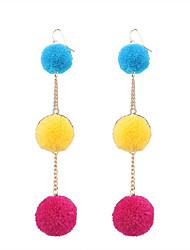 Fashion Women Trendy Fur Ball Drop Earrings
