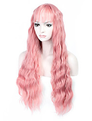 Hot Selling Pink Color Long Natural Wave Women Wigs Heat Resisting Cospaly Syntheitc Wigs