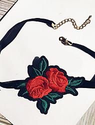 Жен. Ожерелья-бархатки В форме цветка Ткань Мода Euramerican Бижутерия Назначение Для вечеринок