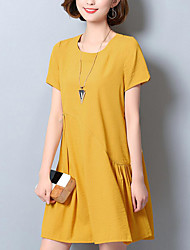 Women's Plus Size Street chic Loose Dress,Solid Round Neck Above Knee Short Sleeves Cotton Summer Mid Rise Micro-elastic Medium