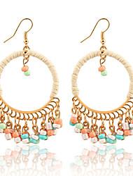 Fashion Bohemian Round Plastic Beads Drop Earrings Acrylic Colorful Beads Alloy Tassel Dangle Earrings  Jewelry For Women Boucle d'oreille Femme