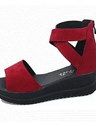 Mujer Sandalias Confort Cuero Nobuck Verano Casual Negro Borgoña 5 - 7 cms
