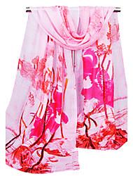 Women's Chiffon Fashion Cute Work Casual Flowers  Spring Summer Fall Winter All Seasons Scarf
