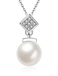 Women's Pendant Necklaces Crystal Cubic Zirconia AAA Cubic Zirconia Oval Geometric IrregularCrystal Imitation Pearl Zircon Cubic Zirconia