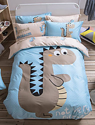 Cartoon Painting 4 Piece Bed Sets 100% Cotton Machine Made 1pc Duvet Cover(200*230cm) 2pcs Shams(48*74)1pc Flat Sheet(230*250cm)