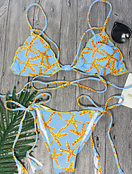 2017 Newest Bikini Sets Women's Bikini Light Blue Color Printed Bikini Sets Swimming Suits