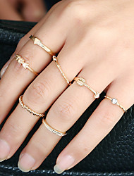Жен. Кольцо манжета кольцо Круглый дизайн Euramerican Простой стиль Металлический сплав Стразы Сплав Круглый Круглой формы Бижутерия