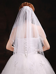 Hochzeitsschleier Vier-Schichten Gesichts Schleier Ellbogenlange Schleier Schnittkante Tüll