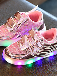 Girls' Shoes Tulle Leatherette Spring Summer Fall Light Up Shoes Sneakers Walking Shoes Low Heel Round Toe Magic Tape LED For Casual