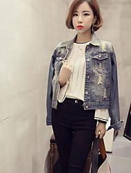Giacca di jeans Da donna Quotidiano Giacche Primavera/Autunno,Tinta unita Colletto Jeans Corto Manica lunga