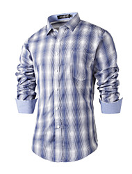 Men's Wedding Party Beach Holiday Going out Casual/Daily Work Club Simple Cute Chinoiserie All Seasons Shirt,Houndstooth Shirt CollarLong