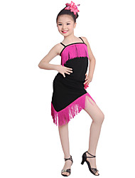Shall We Latin Dance Dresses Kid's Performance Ice Silk Flower Tassel(s) 1 Piece Sleeveless High Dresses