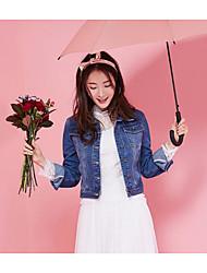Women's Daily Casual Contemporary Summer Denim Jacket,Solid Shirt Collar Long Sleeve Short Cotton