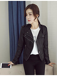 Women's Daily Casual Modern/Comtemporary Spring Summer Leather Jacket,Solid Notch Lapel Long Sleeve Short PU