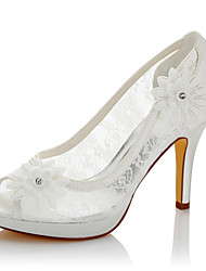 Women's Sandals Comfort Lace Satin Summer Fall Wedding Party & Evening Dress Comfort Applique Stiletto Heel Ivory 4in-4 3/4in
