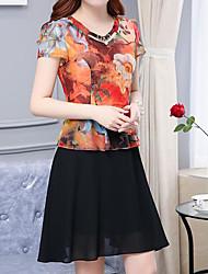 Women's Casual/Daily Simple A Line Dress,Print Round Neck Knee-length Short Sleeve Chiffon Summer Low Rise Micro-elastic Medium